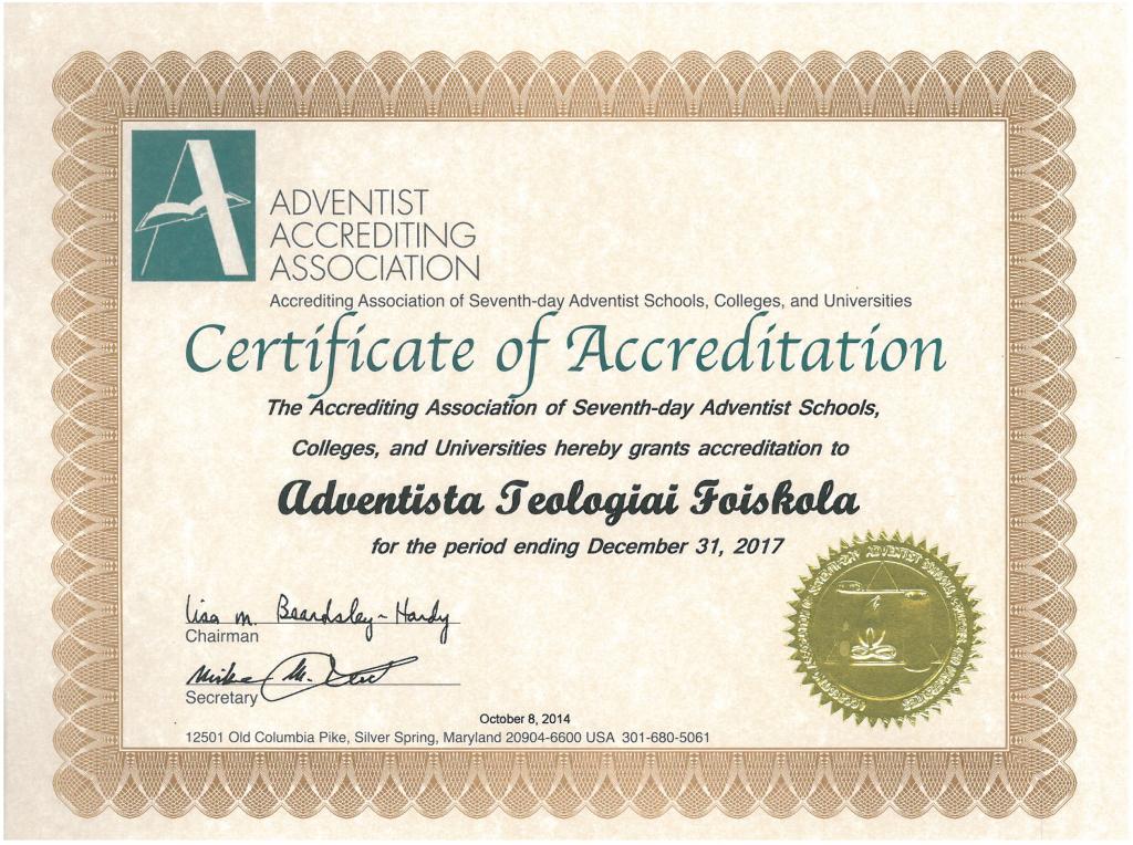 Az Adventista Akkreditációs Szövetség tanúsítványa